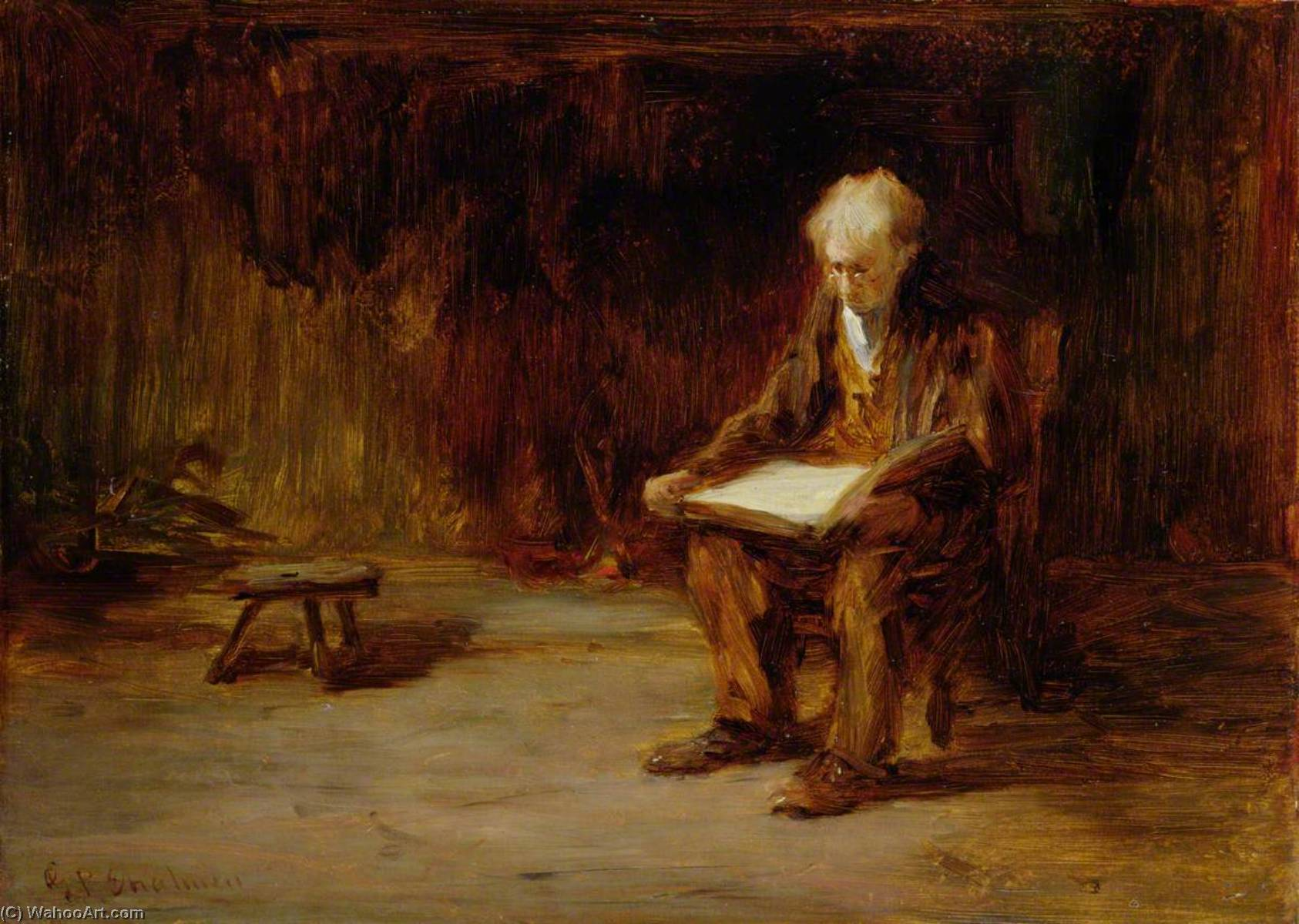 Order Paintings Reproductions | Reading by the Fireside by George Paul Chalmers | WahooArt.com