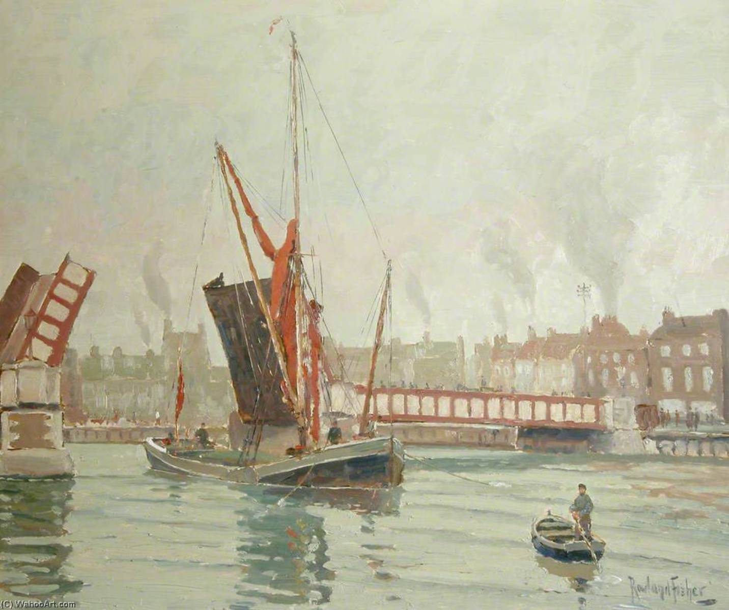 Sailing Barge Passing through Haven Bridge by Rowland Fisher | Famous Paintings Reproductions | WahooArt.com