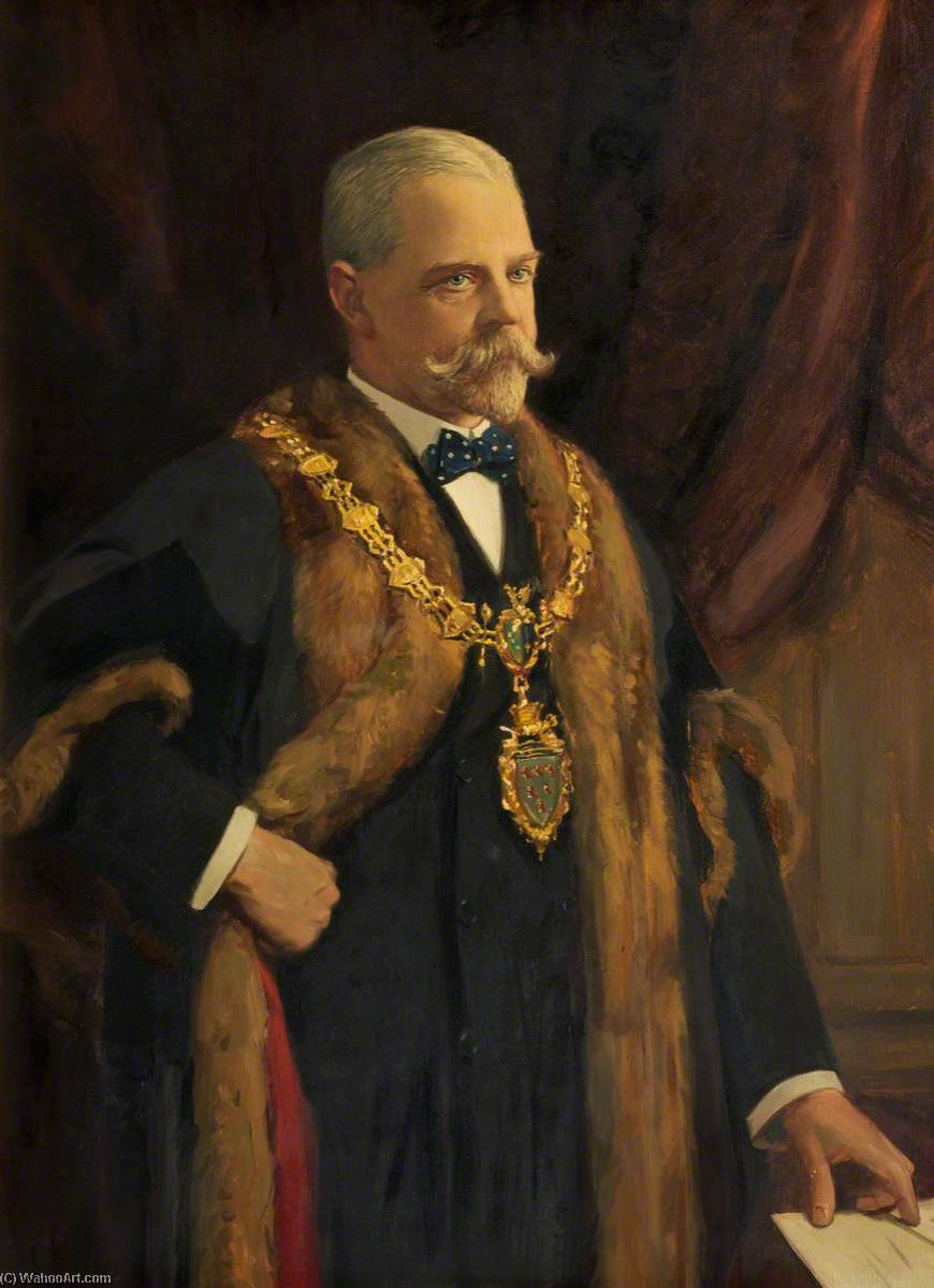 Henry Roberts, Mayor of Warrington (1899–1901), Oil On Canvas by John Archibald Alexander Berrie