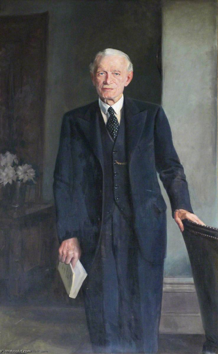 Major Thomas Clayton Toler, Chairman of Cheshire County Council (1935–1940), 1940 by John Archibald Alexander Berrie | Painting Copy | WahooArt.com