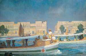 Gilbert Rogers - A British Red Cross Society and Order of St John of Jerusalem Barge on the Tigris at Amara British Red Cross Society and Order of St John Headquarters in the Distance