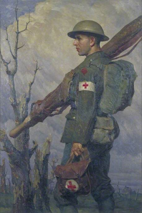 A Royal Army Medical Corps Stretcher Bearer, Fully Equipped, 1919 by Gilbert Rogers | Painting Copy | WahooArt.com