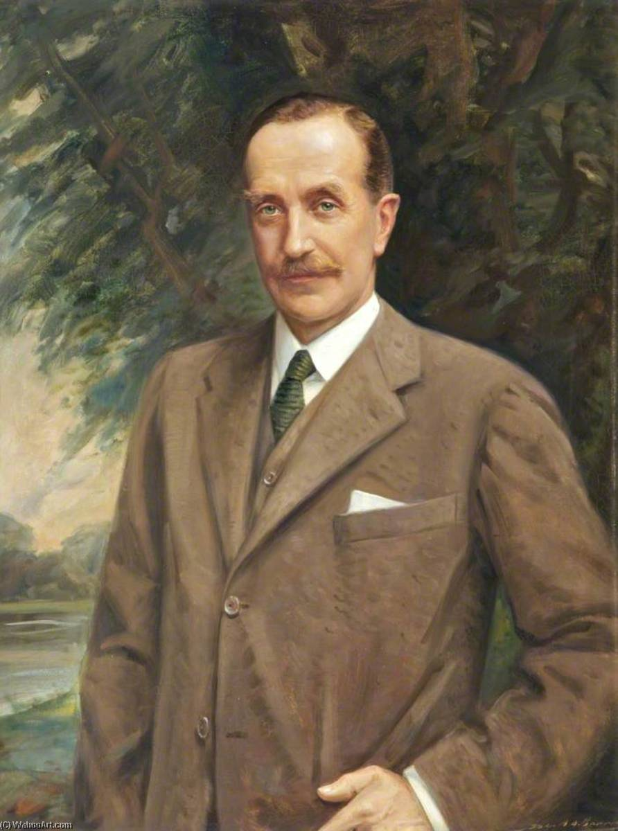 Osbert Cecil (1871–1930), 6th Earl of Sefton, in a Brown Suit, Oil On Canvas by John Archibald Alexander Berrie