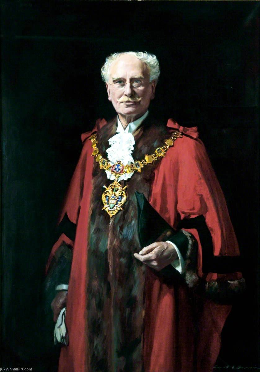 Alderman Frank F. Scott, Mayor of Wallasey, Oil On Canvas by John Archibald Alexander Berrie