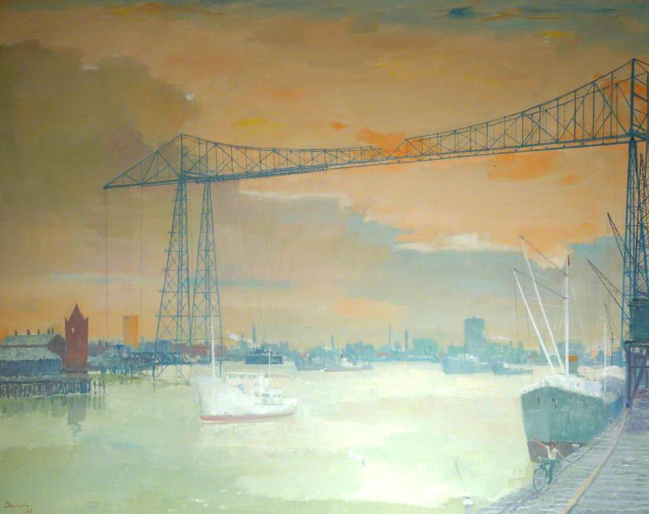 Transporter Bridge, Middlesbrough, Tees Valley, Oil On Canvas by Robin Darwin