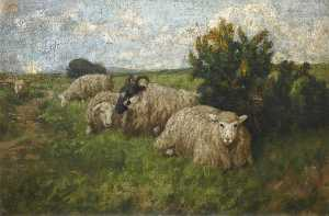 Archibald Russell Watson Allan - Landscape with Sheep