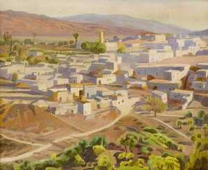 Doris Boulton Maude - View of a Village and River (possibly the Nile)