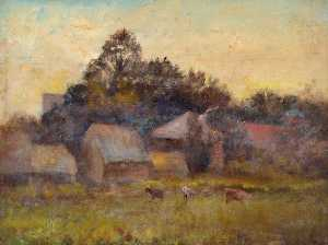 William Henry Hope - Evening at Croham Farm, Croydon, Surrey