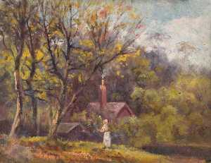 William Henry Hope - Landscape with a Cottage and a Figure