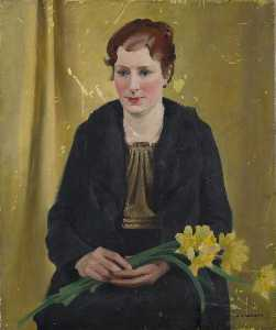Percy Shakespeare - Girl with Daffodils