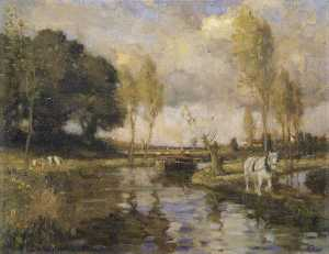 Bertram Priestman - Landscape with a Canal