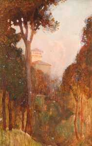 Benjamin Haughton - Trees and Tower, Tuscany