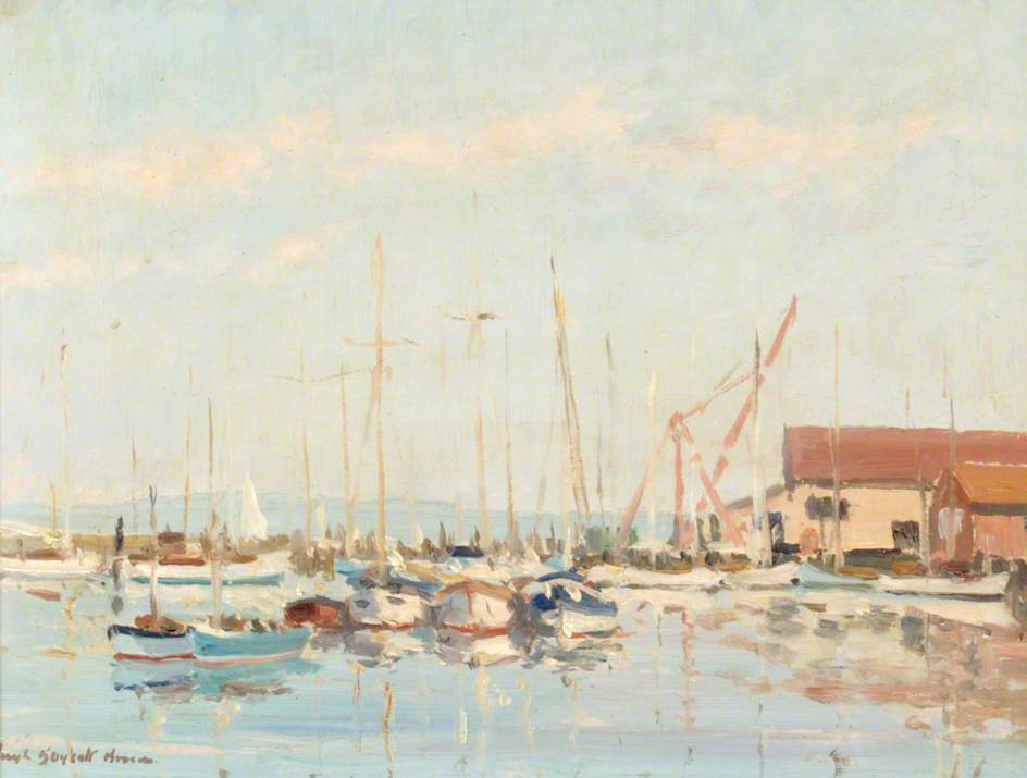Yachts Moored on the Lymington River, 1930 by Hugh Boycott Brown | Oil Painting | WahooArt.com
