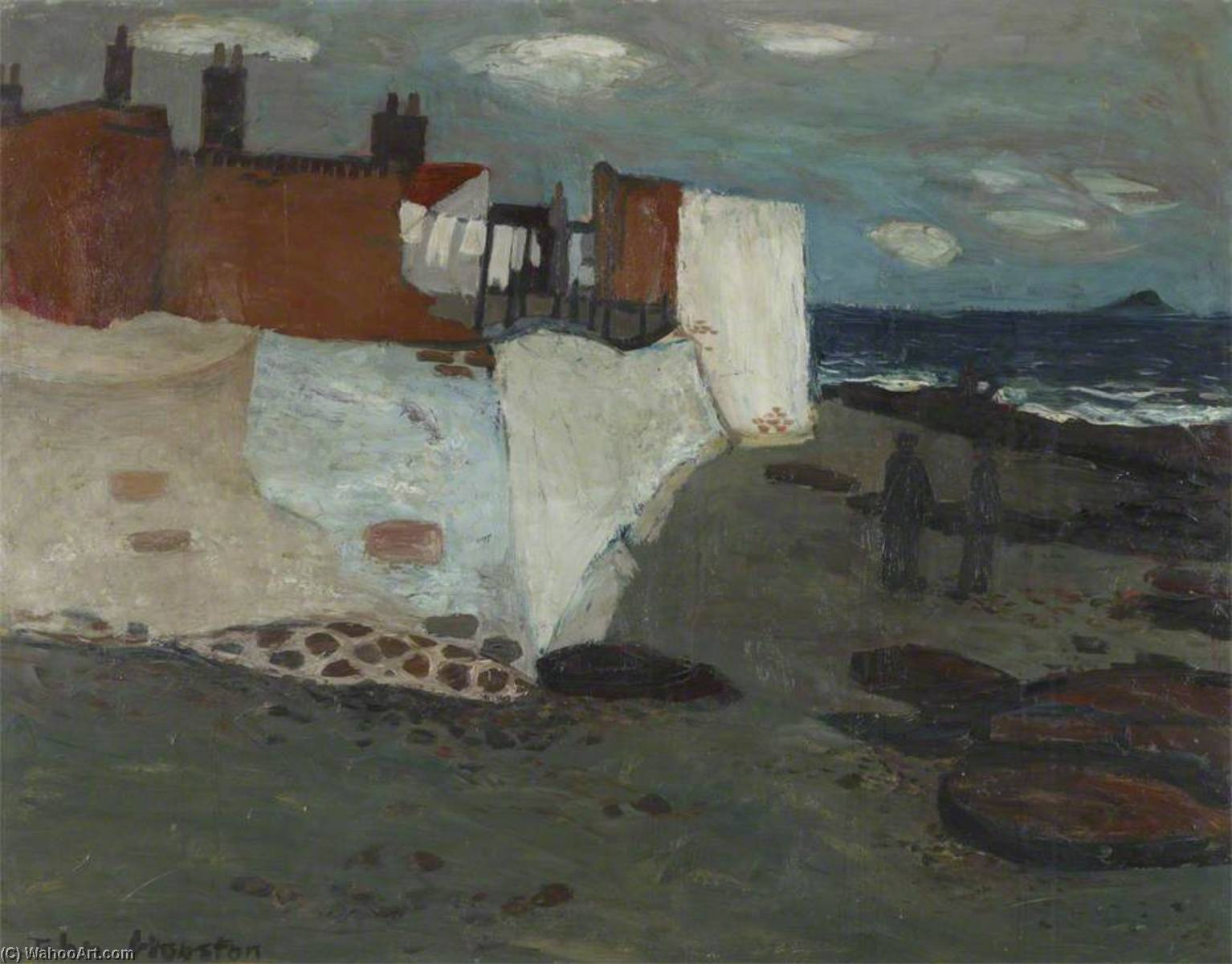 Sea Wall, West Wemyss, 1953 by John Houston | Museum Quality Copies John Houston | WahooArt.com