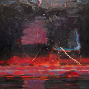 Order Paintings Reproductions | Sunset over a Lake by John Houston | WahooArt.com