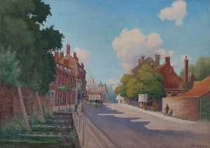 Order Reproductions | Carshalton High Street, Surrey, Looking West, 1942 by Frank R Dickinson | WahooArt.com