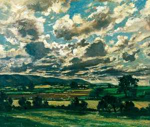 Claude Muncaster - A Sou'wester over the Downs
