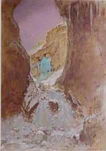William Shackleton - The Nymph of Gordale Scar with Gordale Scar Waterfall Frozen