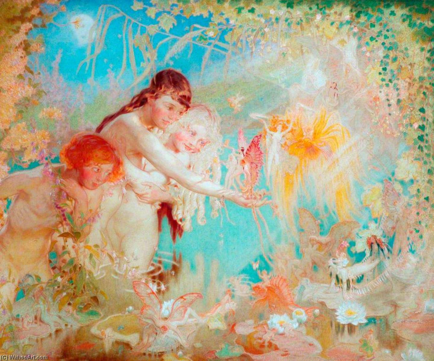 Buy Museum Art Reproductions | Children and Fairies, 1924 by William Shackleton | WahooArt.com