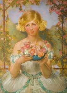 William Shackleton - Jane with a Bowl of Roses