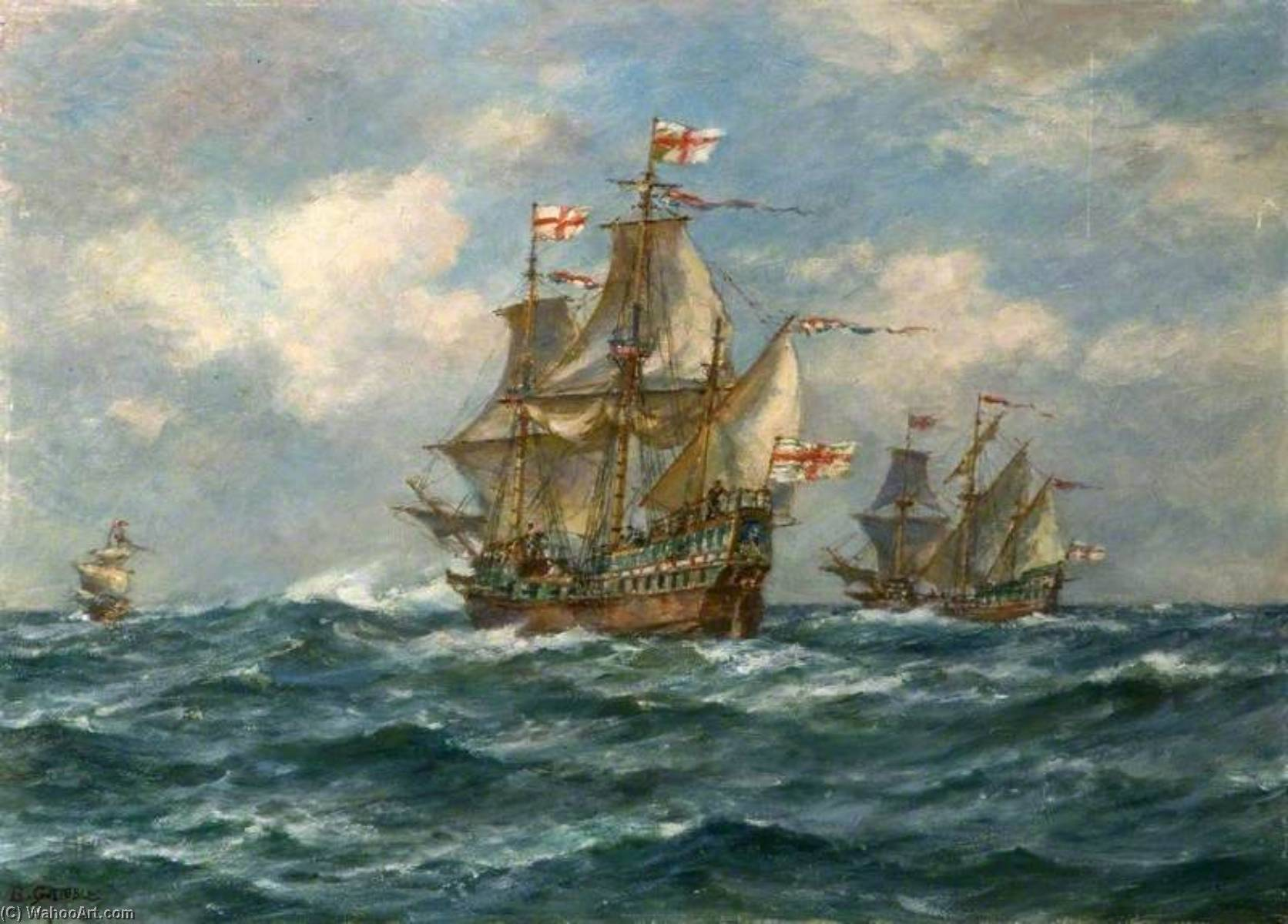 The `Golden Hind` Sails Another Great Enterprise, 13 December 1577, 1950 by Bernard Finnigan Gribble | Art Reproduction | WahooArt.com
