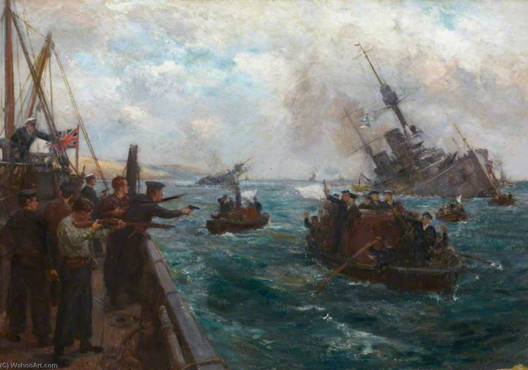 Sinking of the German Fleet – Scapa Flow on Saturday 21 June 1919, 1919 by Bernard Finnigan Gribble | Art Reproductions Bernard Finnigan Gribble | WahooArt.com