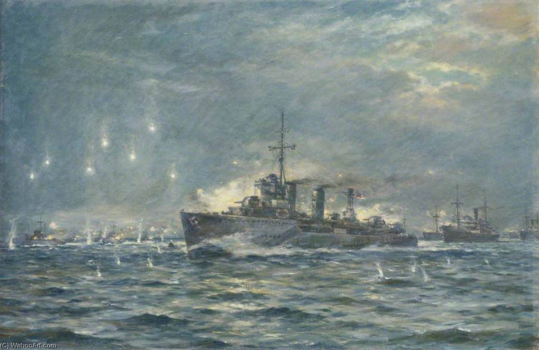 The Destroyer HMS `Wallace` in Action During the Second World War by Bernard Finnigan Gribble | Painting Copy | WahooArt.com