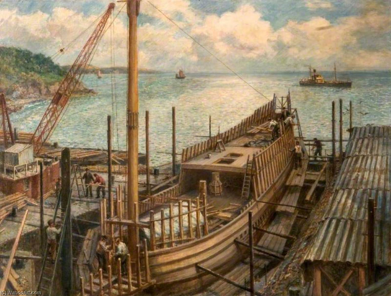 The Building of `Mayflower II`, Brixham, Devon by Bernard Finnigan Gribble | Painting Copy | WahooArt.com