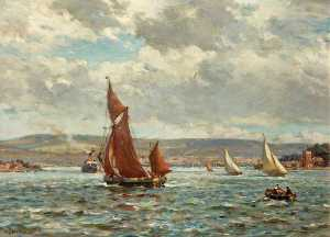Bernard Finnigan Gribble - The Purbeck Hills from Poole Harbour, Dorset