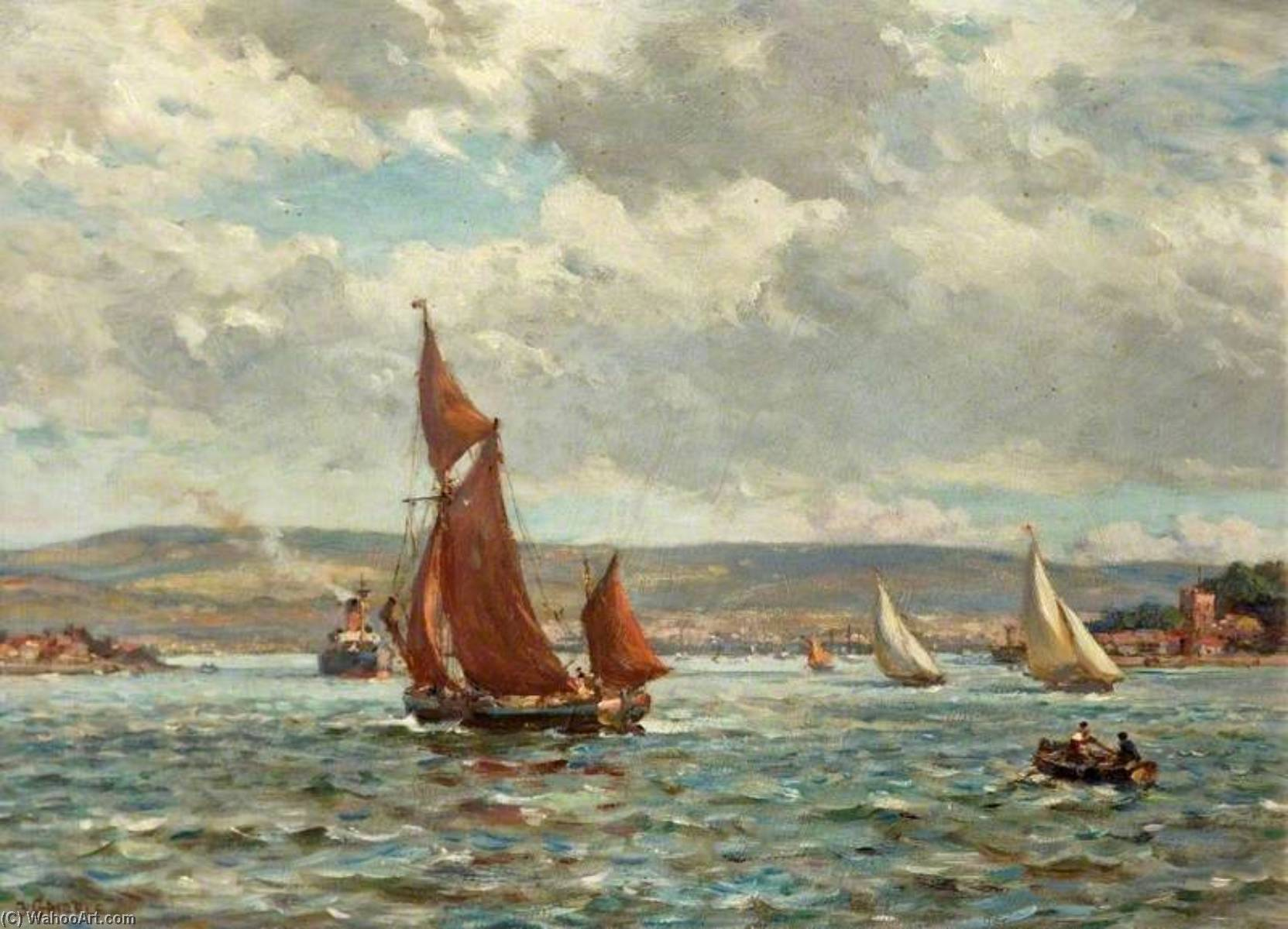 The Purbeck Hills from Poole Harbour, Dorset by Bernard Finnigan Gribble | Art Reproduction | WahooArt.com