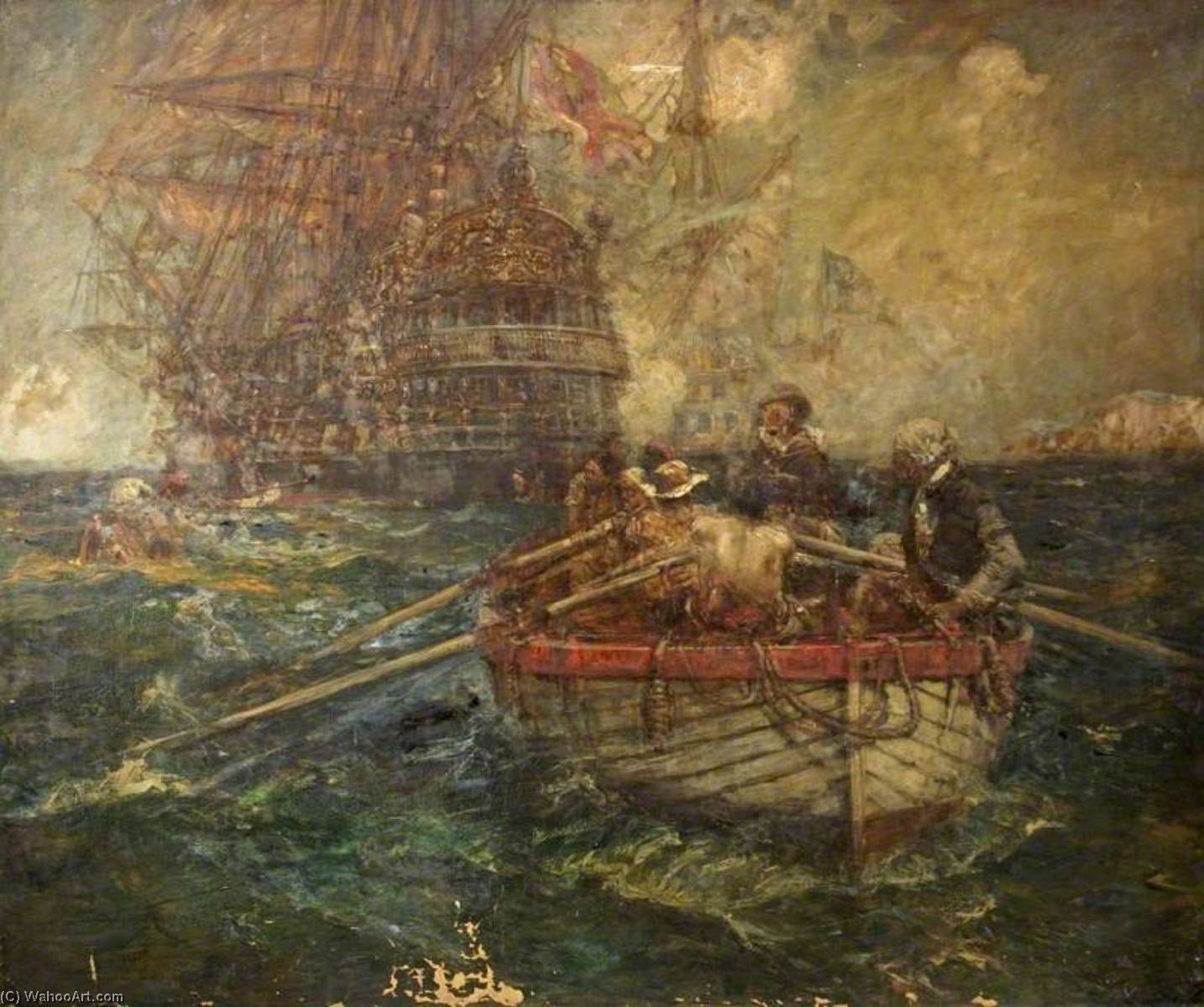 A Fight with Pirates on the High Seas by Bernard Finnigan Gribble | Art Reproduction | WahooArt.com