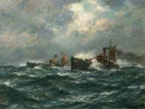 Bernard Finnigan Gribble - Trawlers Running Home in a Gale