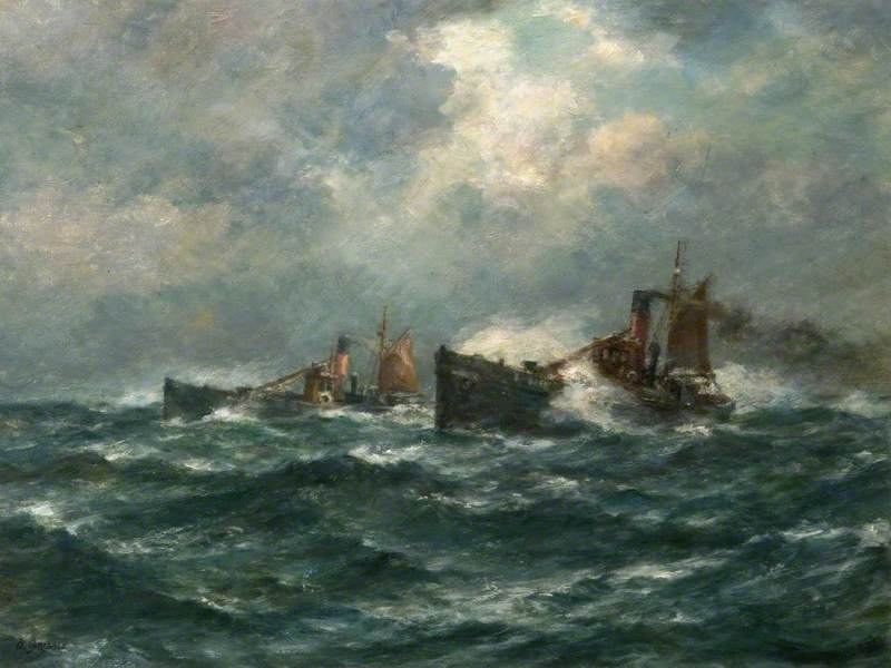 Trawlers Running Home in a Gale by Bernard Finnigan Gribble | Oil Painting | WahooArt.com