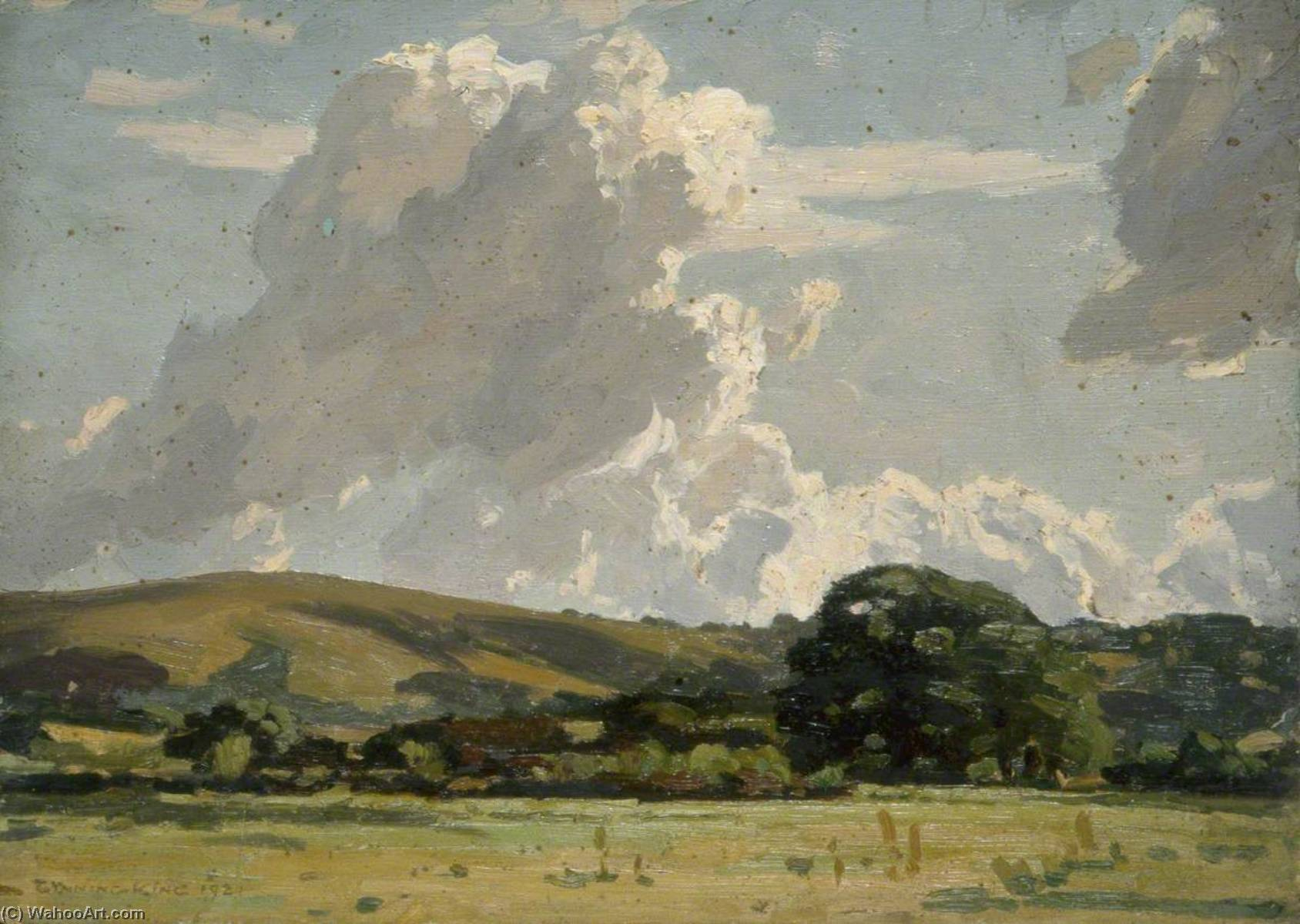 Landscape and Cloud Study, Oil by Gunning King