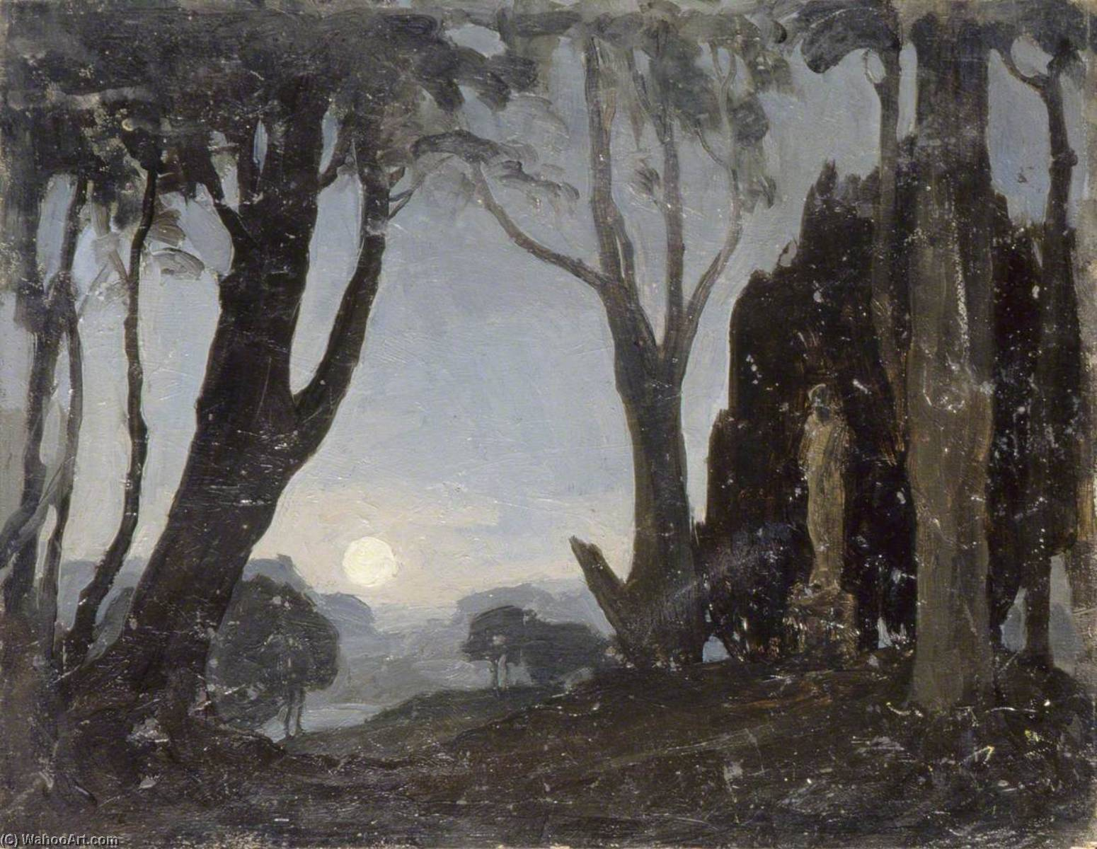 Moonlight Scene with a Statue, 1930 by Gunning King | Famous Paintings Reproductions | WahooArt.com