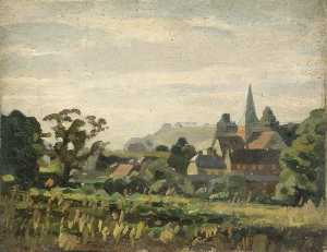 Gunning King - Rural Scene with a Village and a Church Spire
