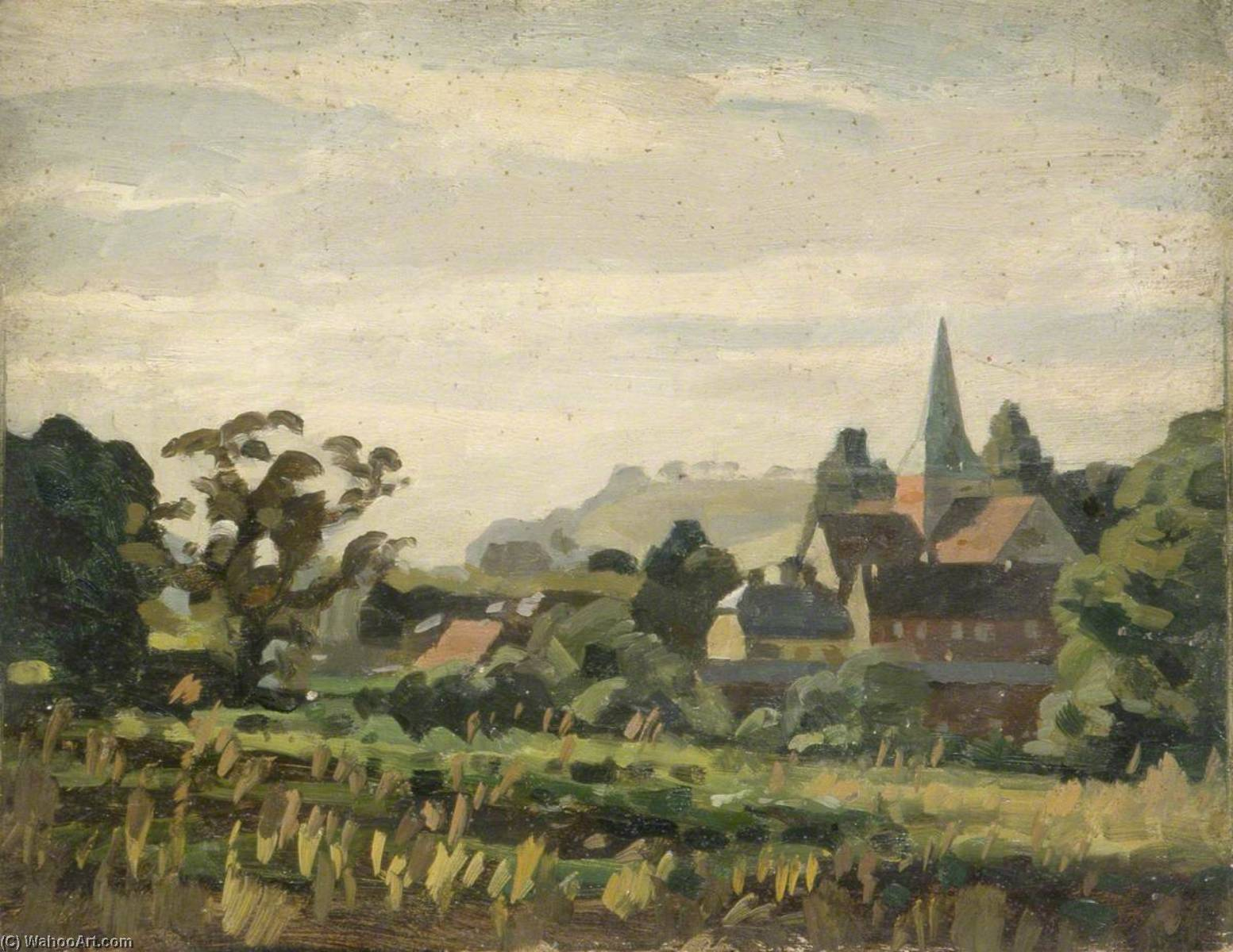 Rural Scene with a Village and a Church Spire, 1930 by Gunning King | Paintings Reproductions Gunning King | WahooArt.com