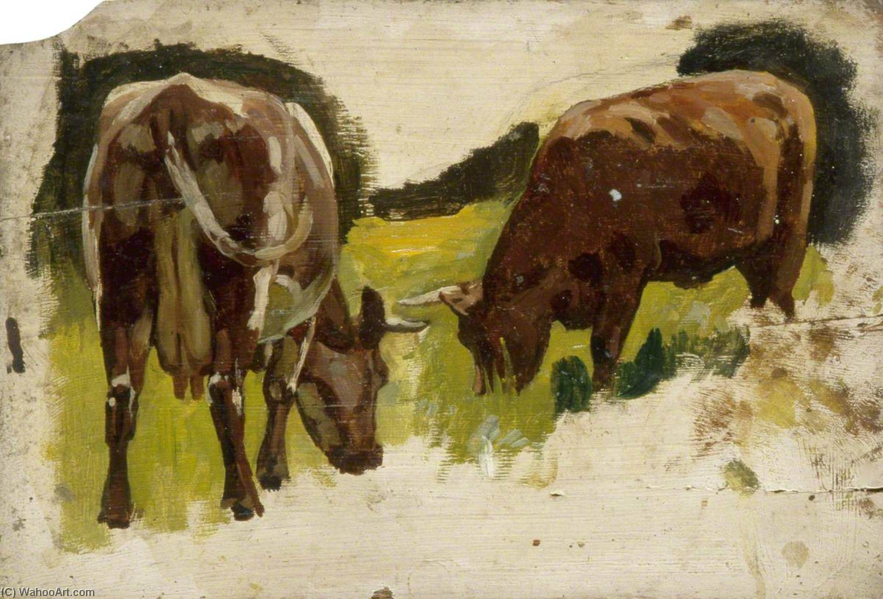 Two Cows Grazing, Oil by Gunning King