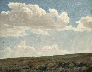 Gunning King - Landscape with Cloudy Sky and Purple Heather