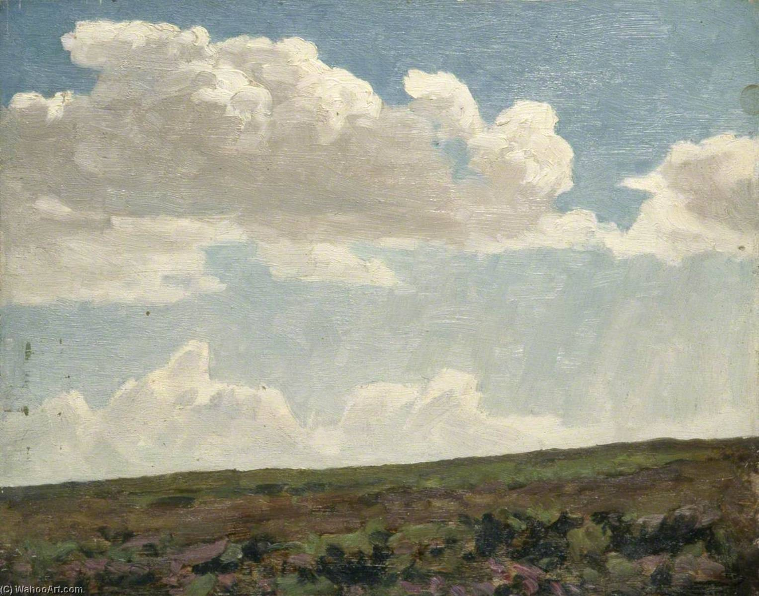 Landscape with Cloudy Sky and Purple Heather, 1930 by Gunning King | Oil Painting | WahooArt.com