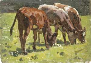 Gunning King - Three Cows Grazing in a Field