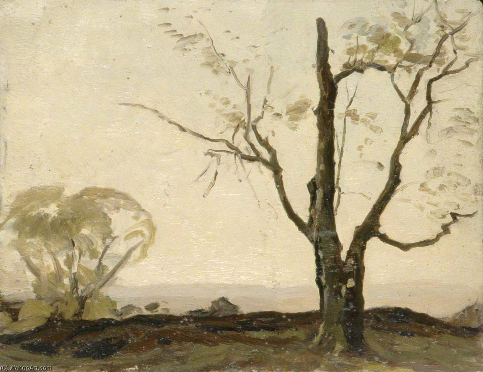 Landscape with Two Trees, Oil by Gunning King