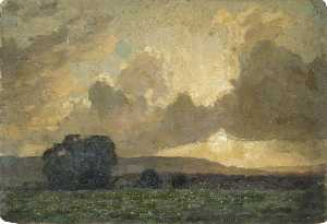 Gunning King - Landscape with Sun Tinged Clouds