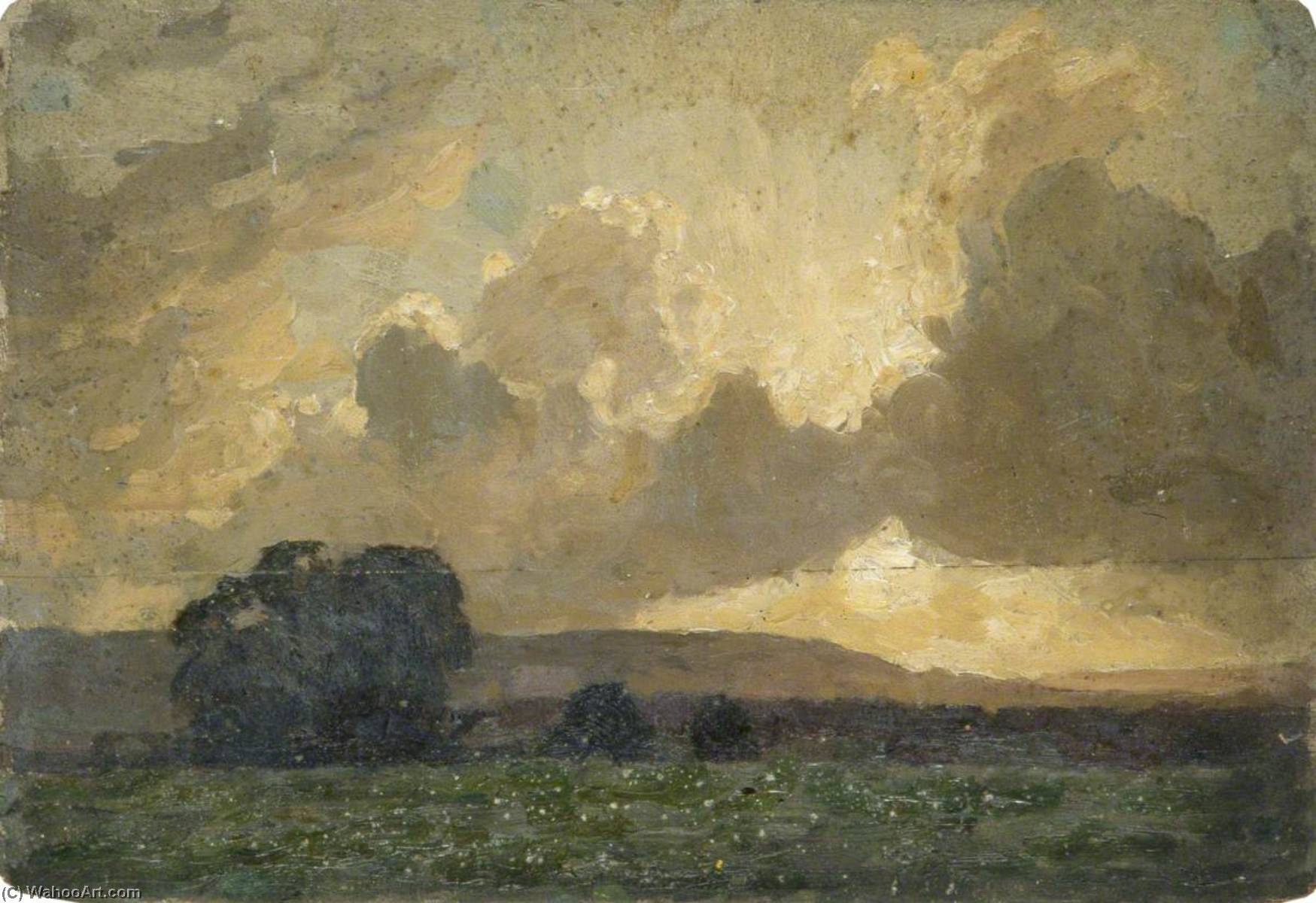 Landscape with Sun Tinged Clouds, Oil by Gunning King