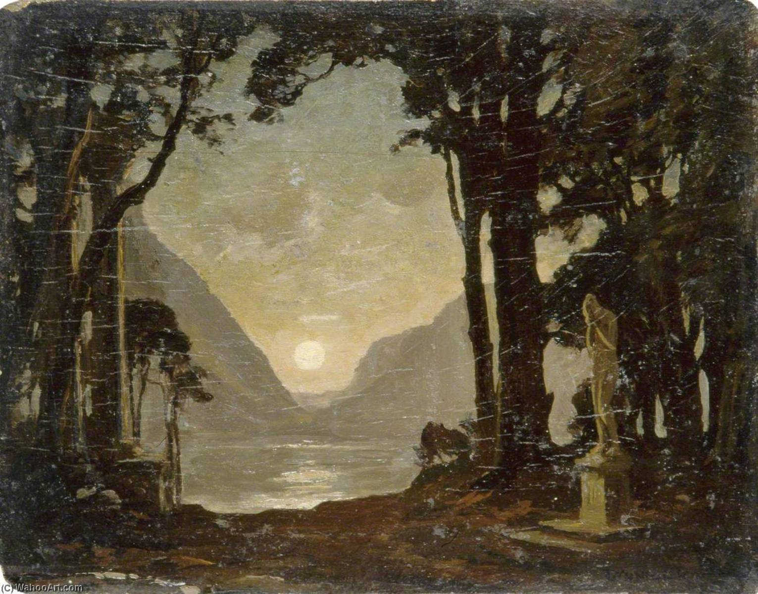 Moonlight on a Lake with Statues, Oil by Gunning King
