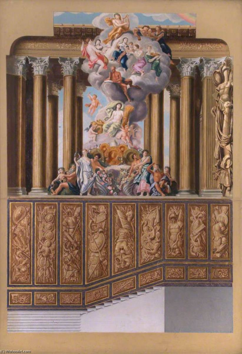 The King`s Grand Stairs, North Wall, Hampton Court Palace (after Antonio Verrio), 1945 by William Herbert Hampton | Reproductions William Herbert Hampton | WahooArt.com