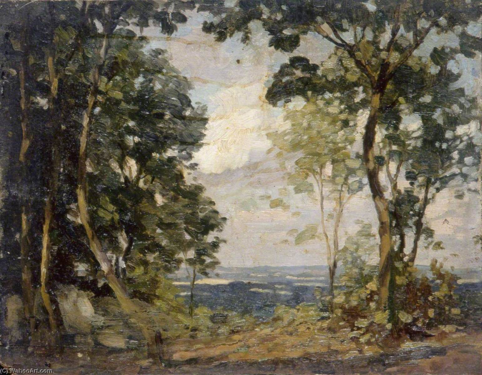 Woodland Clearing Overlooking Lower Land, Oil by Gunning King