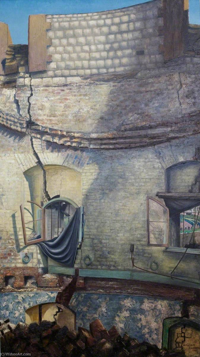 Order Reproductions | Bomb Damage, Interior of the North Bastion (Tower of London), 1941 by William Herbert Hampton | WahooArt.com