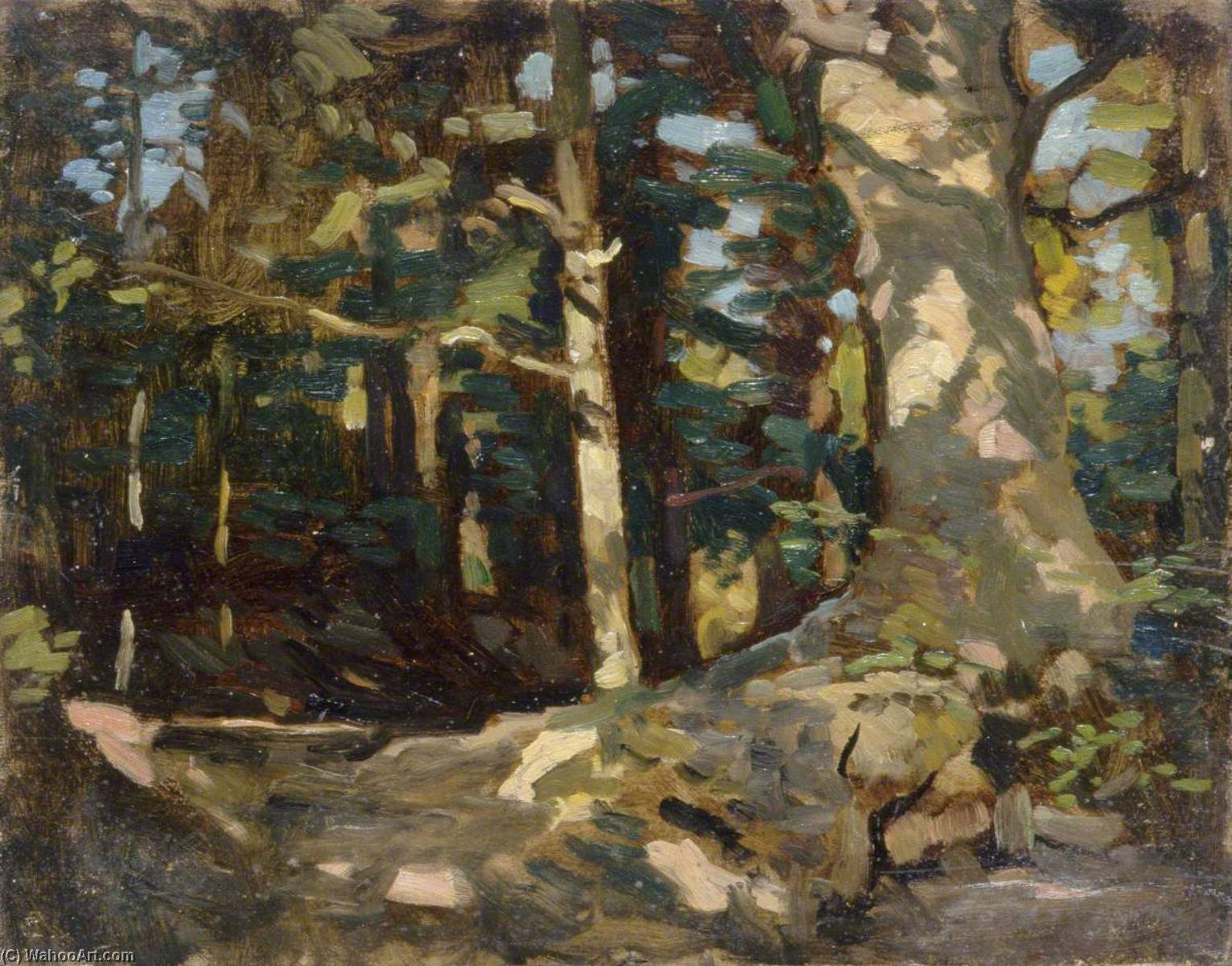 Forest Scene, Oil by Gunning King