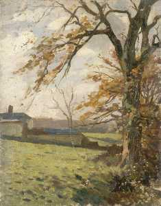 Gunning King - Autumnal Trees and Farm Buildings